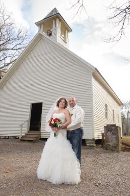 Cades Cove wedding in Historic church